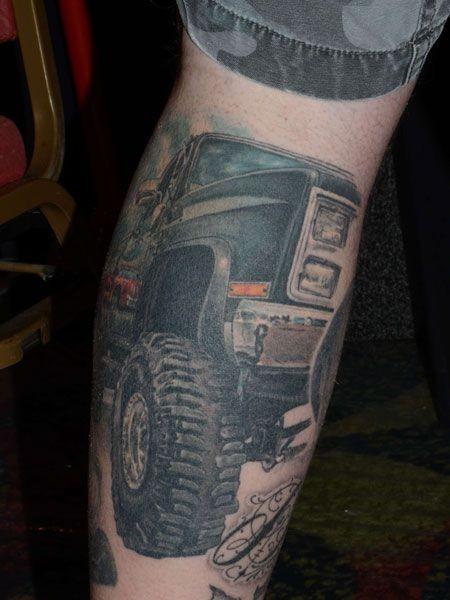 Awesome Jeep Car Tattoo On Leg