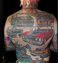All typres of automobile full back tattoo