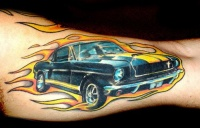 Muscle car coloured tattoo