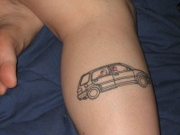 Family car black ink tattoo