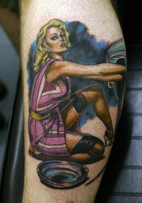 Pinup mechanic coloured tattoo